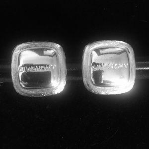 Vintage Givenchy Silver Square Clip On Earrings